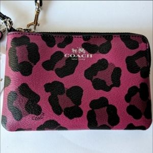 Coach Wristlet Animal Print Red and Black NWT